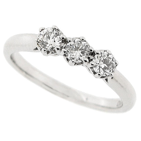 Brilliant cut diamond three stone ring in 9ct white gold, 0.33ct