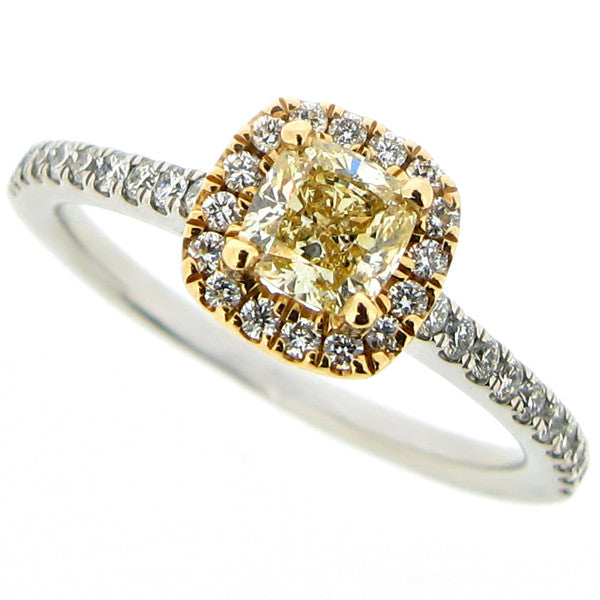 Ring - Yellow and white diamond 'halo' cluster ring in platinum and 18ct gold, 0.85ct total  - PA Jewellery