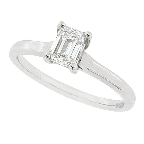 Emerald cut diamond solitaire ring in platinum, 0.49ct