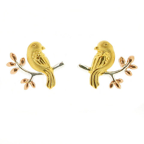Earrings - Bird stud earrings in silver with rose and yellow gold plating  - PA Jewellery