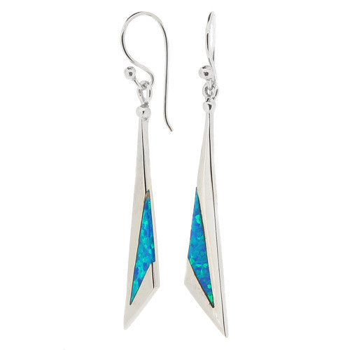 Earrings - Blue simulated opal triangular drop earrings in silver  - PA Jewellery