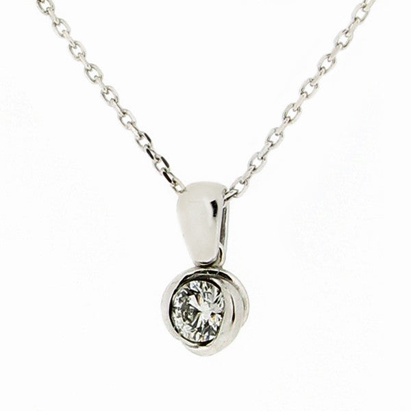 Neckwear - Diamond solitaire 'rosebud' pendant and chain in 18ct white gold, 0.23ct  - PA Jewellery