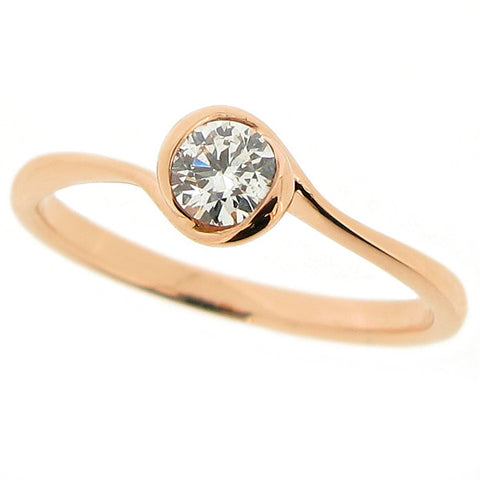 Rings - Diamond solitaire 'rosebud' ring in 18ct rose gold, 0.25ct  - PA Jewellery