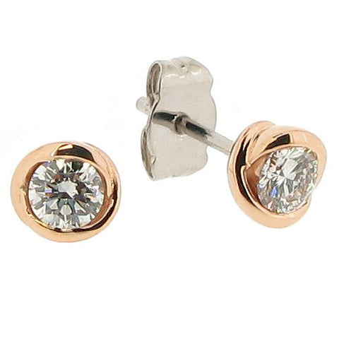 Earrings - Diamond solitaire 'rosebud' stud earrings in 18ct rose and white gold, 0.46ct  - PA Jewellery