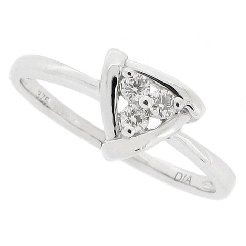 Rings - Diamond triangular cluster ring in 9ct white gold, 0.10ct  - PA Jewellery