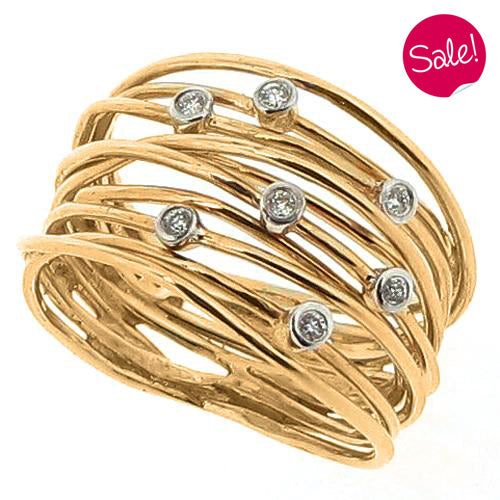 Diamond set spiral multi-row ring in 9ct yellow gold