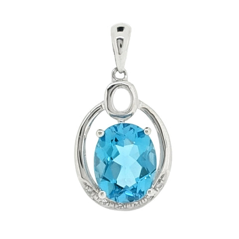 Blue topaz and diamond pendant in 9ct white gold