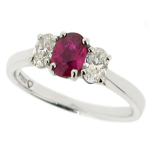Ruby and diamond oval three stone ring in platinum