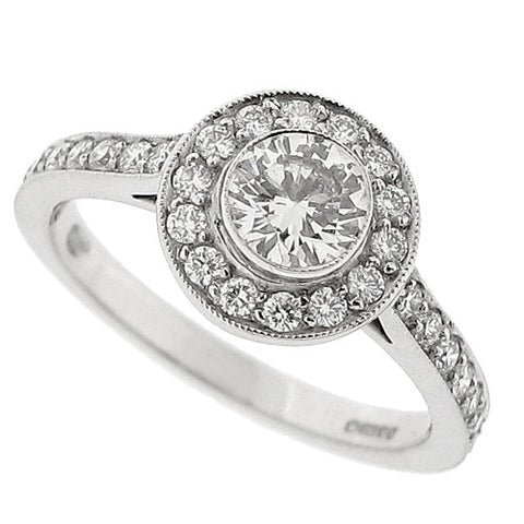 Diamond halo cluster ring in 18ct white gold, 0.86ct