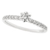 Brilliant cut diamond solitaire with diamond set shoulders in 18ct white gold, 0.44ct