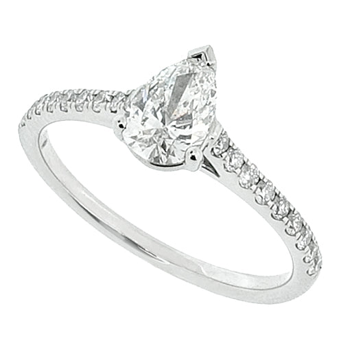Pear shape diamond solitaire with diamond set shoulders in platinum, 0.74ct