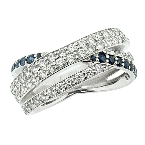 Diamond and sapphire multi-band ring in 18ct white gold