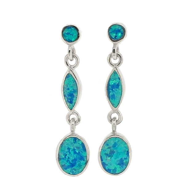 Blue simulated opal triple drop earrings in silver