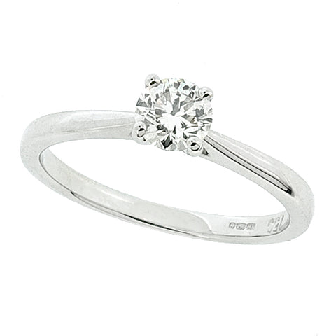 Brilliant cut diamond solitaire ring in 18ct white gold, 0.35ct