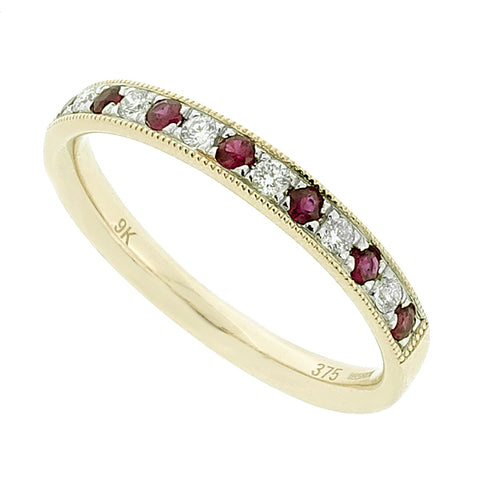 Ruby and diamond half eternity ring in 9ct yellow gold