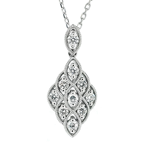 Diamond cluster pendant and chain in 18ct white gold, 0.40ct