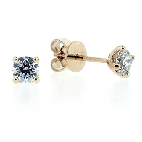 Brilliant cut diamond solitaire earrings in 18ct yellow gold, 0.49ct