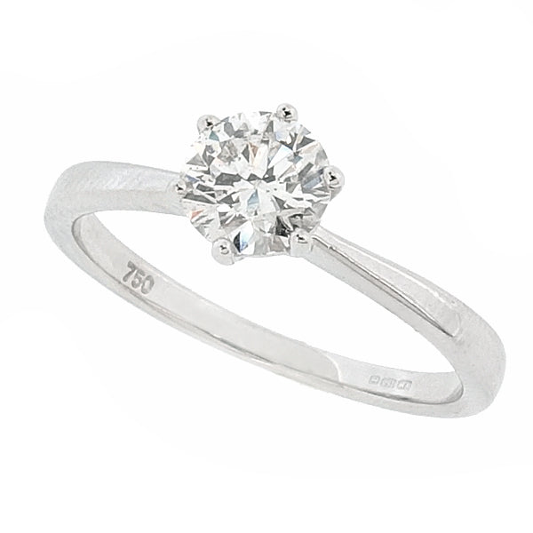 Brilliant cut diamond solitaire ring in 18ct white gold, 0.59ct