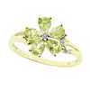 Peridot and diamond floral cluster ring in 9ct yellow gold