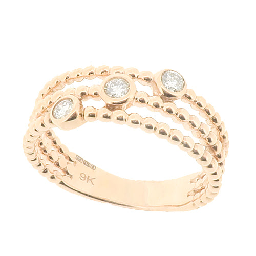 Diamond three stone dress ring in 9ct rose gold, 0.15ct