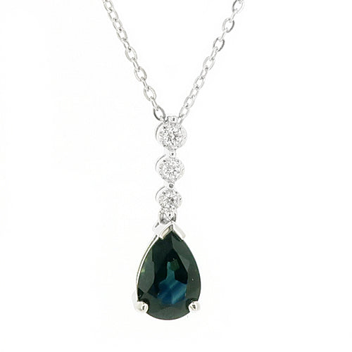 Sapphire and diamond pendant and chain in 9ct white gold