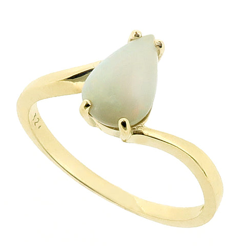 Opal pear-shaped solitaire ring in 9ct gold
