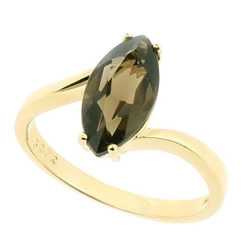 Smoky Quartz marquise cut solitaire ring in 9ct gold
