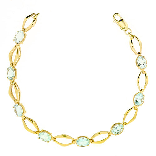 Aquamarine bracelet in 9ct gold