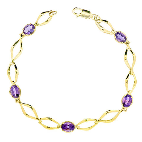 Amethyst bracelet in 9ct gold