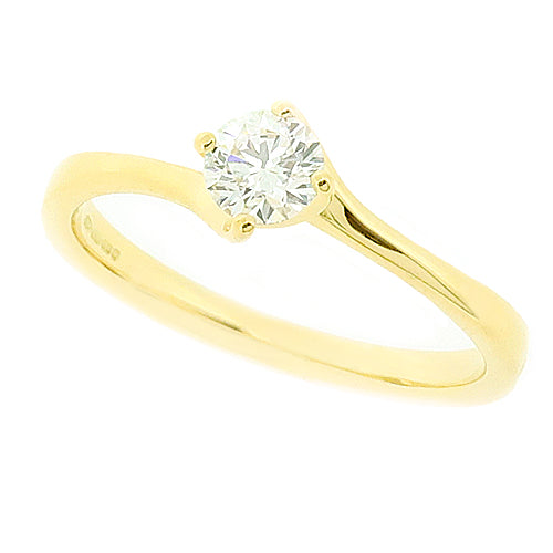 Brilliant cut diamond twist solitaire ring in 18ct gold, 0.30ct