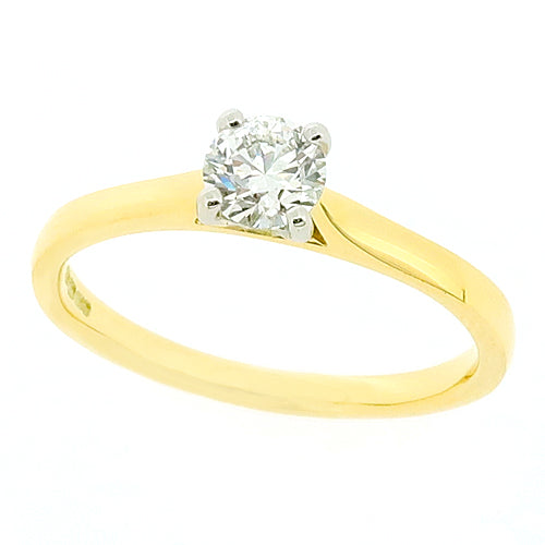 Brilliant cut diamond solitaire ring in 18ct gold and platinum, 0.35ct
