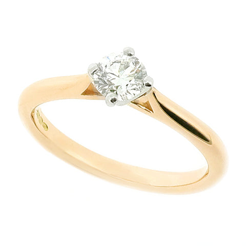 Brilliant cut diamond solitaire ring in 18ct rose gold and platinum, 0.38ct