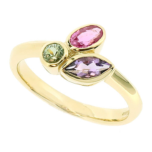 Multi-gemstone cluster ring in 9ct gold