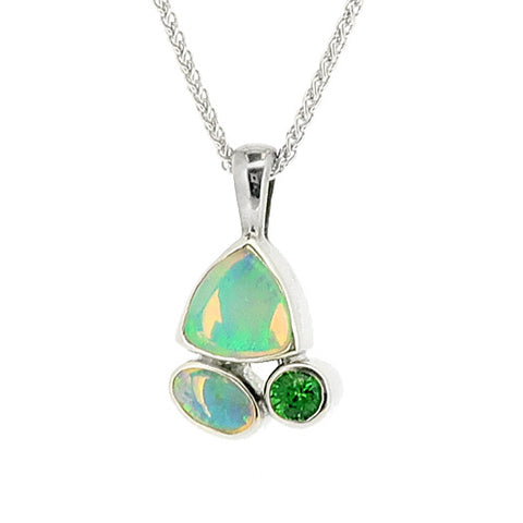 Opal and Tsavorite garnet pendant and chain in 9ct white gold