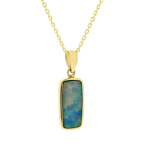 Rectangular opal doublet pendant and chain in 9ct gold