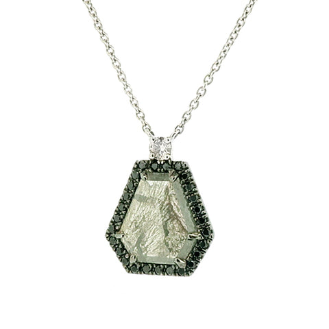 Rose-cut grey diamond with black diamond halo necklace in 18ct white gold, 2.10ct