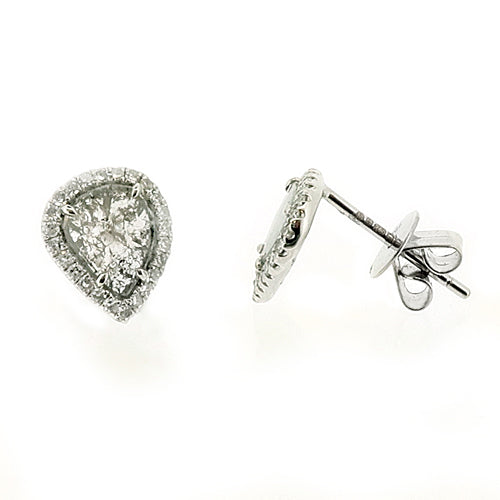 Pear shape rose-cut grey diamond halo stud earrings in 18ct white gold, 0.68ct