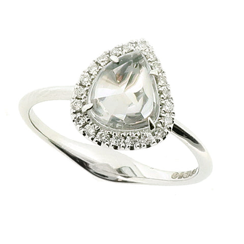 Rose-cut white sapphire and diamond halo cluster ring in 18ct white gold