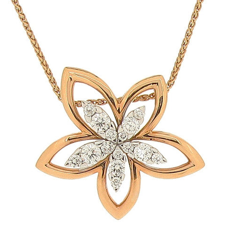 Neckwear - Diamond flower necklace in 18ct rose gold, 1.17ct  - PA Jewellery