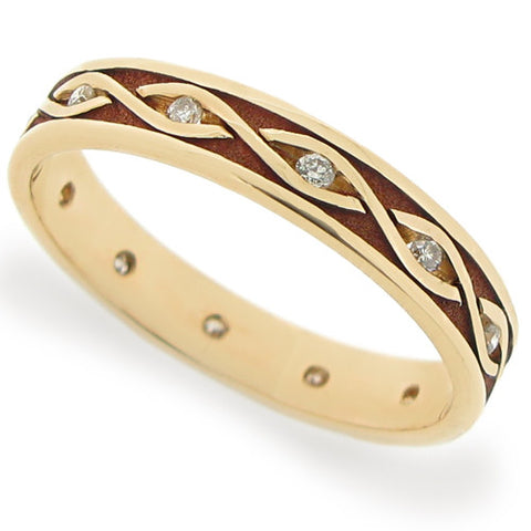 Ring - Diamond set twist pattern wedding band in 9ct yellow gold, 0.12ct  - PA Jewellery