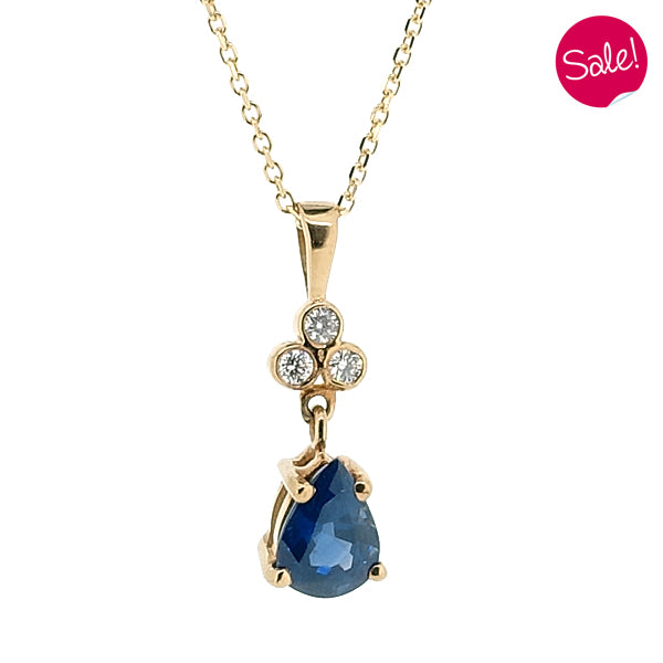 Sapphire and diamond pendant and chain in 18ct yellow gold