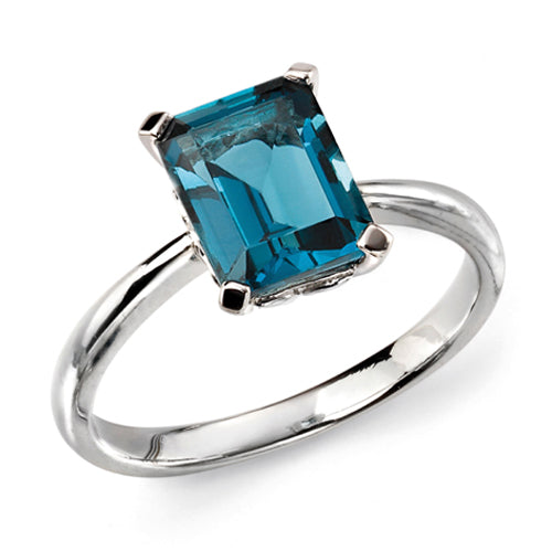 London Blue Topaz octagon cut solitaire ring