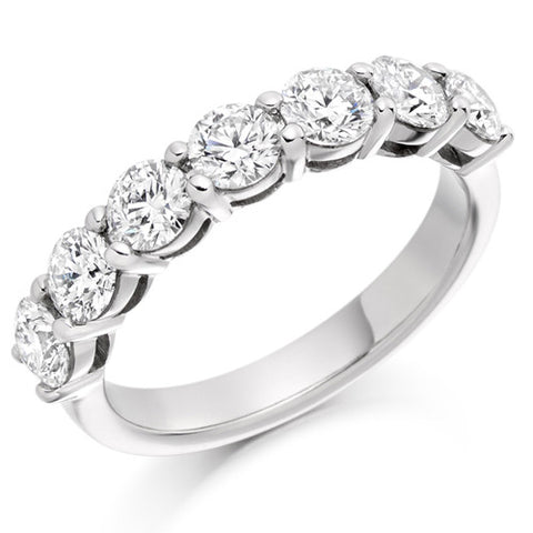 Ring - Round brilliant cut diamond claw set half eternity ring, 1.50ct  - PA Jewellery