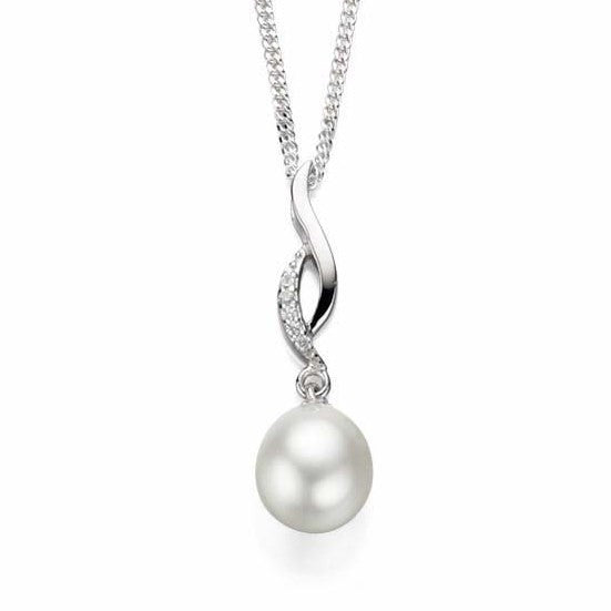 Neckwear - Freshwater pearl and Cubic Zirconia pendant and chain in silver  - PA Jewellery