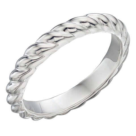Twist detail band ring in silver