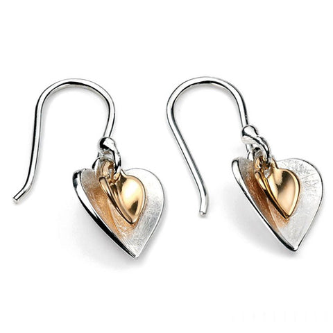 Double heart drop earrings in silver with gold plating
