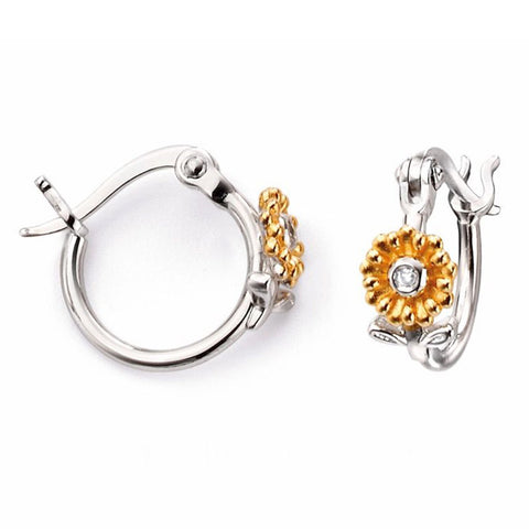 Diamond set floral creole earrings in silver with gold plating