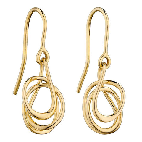 Spiral wire drop earrings in 9ct gold