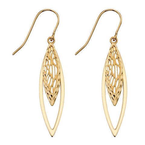 Cut-out detail marquise drop earrings in 9ct gold