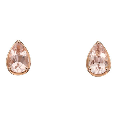 Morganite pear shape stud earrings in 9ct rose gold